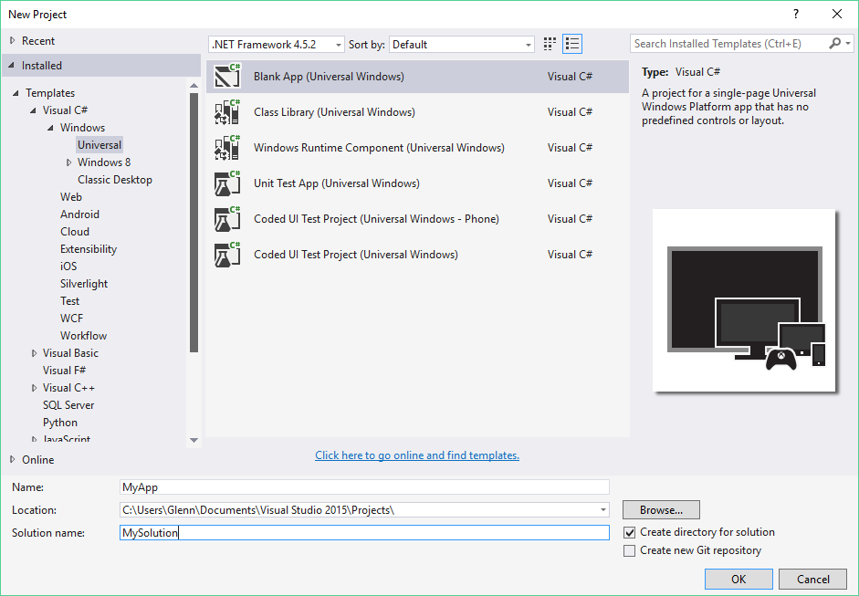 UWP – Creating a new project and its structure – Glenn Ruysschaert